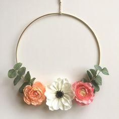 """Modern Wreath/12""""/Gold Wreath/Anemone/Rustic Wreath/Boho Wreath/Nursery/Ranunculus/Door Wreath/Boho Chic Wreath/Floral Wreath/Chic/Wedding by SunshineSkyStudio on Etsy"""