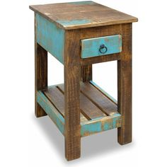 Distressed solid wood end table. Teal color drawer with teal finish accent sides. Slatted wooden bottom shelf. Features: Material: Solid pine, no MDF or partic…