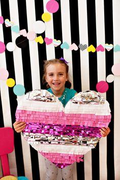 Confetti and Hearts Photo Booth Idea + DIY Fringe Heart Photo Prop