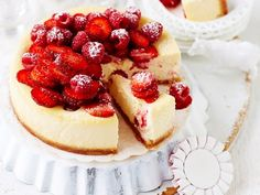 Raspberry and strawberry ricotta cheesecake recipe - By Australian Women's Weekly, Indulge in this delightfully fresh and sweet raspberry and strawberry ricotta cheesecake; enjoy a slice for morning or afternoon tea!
