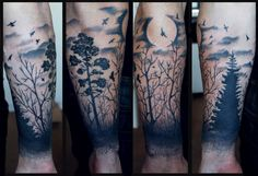 Black Ink Forest With Flying Birds Scenery Tattoo On Forearm