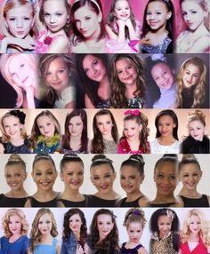 dance moms headshots over the years