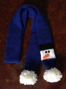 Snowman Scarf (Addi Express, crochet, knit, loom knit)