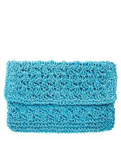 Boho Clutch - crochet in turquoise