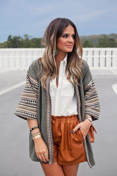 pretty cardigan and cognac shorts