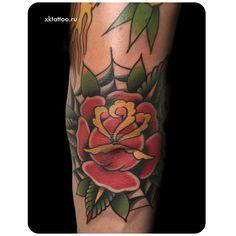 Elbow tattoo. Web tattoo. Color tattoo. Tattoo by Dmitry Rechnoy (Re4noy). XKtattoo studio. http://www.xktattoo.ru