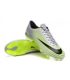 Acheter Chaussures Nike Football Hommes - Nike Mercurial Vapor 11 FG Argenté Noir Vert pas cher en ligne 101,00€ sur http://cramponsdefootdiscount.com