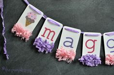 Ice Cream Door Banner. A lovely decor piece to coordinate with the ice-cream theme for a kid's birthday party. For more party ideas visit YouCanPlanAParty.com