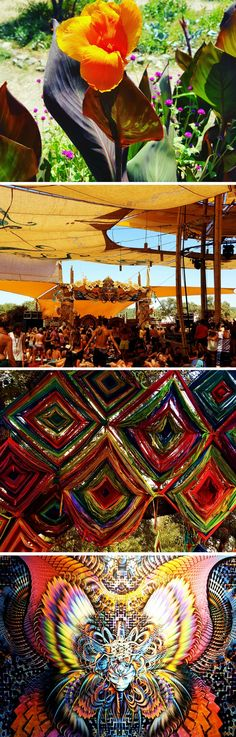 Travel photography at Boom Festival,  Portugal, with amazing psychedelic art everywhere you turn