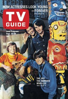 TV Guide: September 23, 1967 - The Monkees - Micky Dolenz and Michael Nesmith (standing), Peter Tork and Davy Jones (sitting)