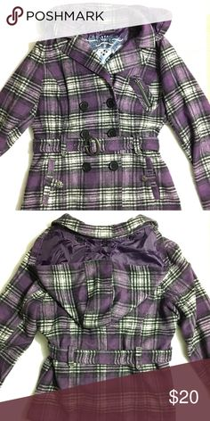 Purple plaid peacoat Good condition and has removable hood. It's a girl's large, but I wore it as a woman's small. Bundle 3+ items from me and only pay shipping ONCE, get 15% off, and a FREE gift! Jou Jou Jackets & Coats Pea Coats