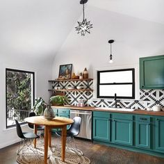 Unexpected Colorful Kitchens roundup from designer Lesley Myrick | Teal cabinets with black and white Moroccan tile, and a straw woven round rug under the table. it resembles me a mandala. #colors #rug cucina dai colori inaspettati, piastrelle marocchine nere e bianche e un tappeto in paglia intrecciata, che mi ricorda un mandala ((rosa)(johnaskewcustomhomes)