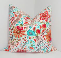 NEW Colorful Waverly Peacock Coral Orange Red Turquoise Blue Peacock Print Pillow Cover Decorative Throw Pillow Covers 18x18 by HomeLiving on Etsy https://www.etsy.com/listing/196096216/new-colorful-waverly-peacock-coral