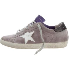 Pre-owned Golden Goose Superstar Low-Top Sneakers (347,525 KRW) ❤ liked on Polyvore featuring shoes, sneakers, grey, golden goose shoes, gray shoes, logo shoes, gray sneakers and lace trainers