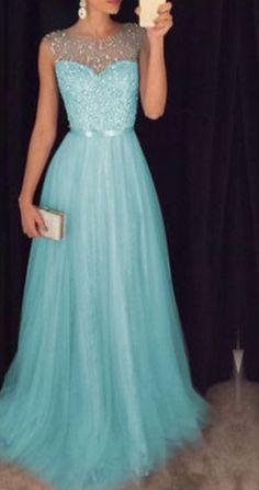 Light Blue Tulle Sequins And Beaded Prom Dresses Sparkle Formal Dresses, Evening Gowns on Luulla Homecoming Dresses Long, A Line Prom Dresses, Formal Dresses For Women, Formal Evening Dresses, Grad Dresses, Bridesmaid Dresses, Pretty Dresses, Beautiful Dresses, Designer Evening Gowns