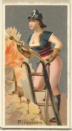 "The ""Occupations for Women"" series of trading cards was issued by Goodwin & Company in 1887 to promote Old Judge and Dogs Head Cigarettes. The Metropolitan Museum of Art owns all 50 cards in the series, as well as three duplicate cards American Wings, Museums In Nyc, Female Firefighter, Maker Culture, Vintage Circus, Old Postcards, Metropolitan Museum, Vintage Images, Illustration"