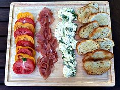 Easy appetizer-buffalo mozzarella, heirloom tomatoes, prosciutto and baguettes. Fresh and delicious! - A Life From Scratch. Summer Entrees, Summer Recipes, Buffalo Mozzarella, Healthy Food, Healthy Recipes, Heirloom Tomatoes, Appetizer Dips, Prosciutto, Mediterranean Diet