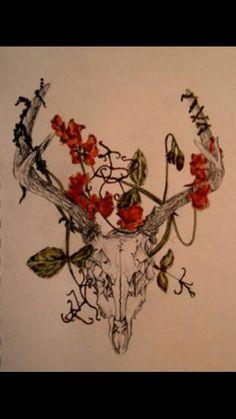 Skull, antlers, floral