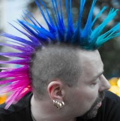 blue mohawk | Awesome pink to blue mohawk.