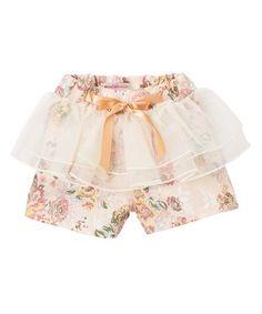 Look at this #zulilyfind! Pink Green Floral Ruffle Overlay Shorts - Kids #zulilyfinds