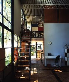 Originally known as Case Study House No. the Eames House was such a spatially pleasant modern residence that it became the home of the architects themselves. Charles and Ray Eames began designin… Industrial House, Industrial Interiors, Industrial Bookshelf, Kitchen Industrial, Industrial Apartment, Industrial Table, Industrial Farmhouse, Industrial Furniture, Modern Furniture
