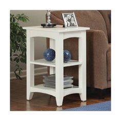 Shaker Cottage End Table with Two Shelves in Ivory by Alaterre. $102.00. ASCA02IV Features: -End table.-Two shelves.-Easy to assemble.-General conformity certificate. Construction: -Composite wood construction. Color/Finish: -Ivory finish. Assembly Instructions: -Assembly required. Collection: -Shaker Cottage collection. Warranty: -Manufacturer provides 11 years warranty and guarantee against manufacturing related issues.
