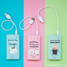 mrwonderful_WOA02941_8436557681041_bateria-externa-4000-mah_buenos-dias-2 Iphone Charger, Iphone Cases, Cute Portable Charger, Batterie Portable, Cute School Supplies, Mr Wonderful, Stationery Items, Mobile Accessories, Laptop Stickers