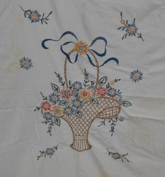 Country Flower Basket Pot  Embroidery Applique Patch