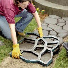 Walk Maker reusable plastic molds for making patterned walkways, garden paths and patios. Need a walkway to the garden. Outdoor Projects, Garden Projects, Home Projects, Lawn And Garden, Garden Paths, Home And Garden, Walk Maker, Plastic Molds, Outdoor Living