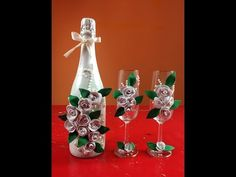 Botella decorada para fiesta de boda Bottle decorated for wedding - YouTube