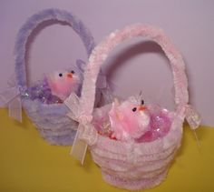 Miniature Chenille Easter Baskets Set of Two by TheGiftMonkey, $7.00