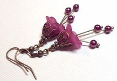 Jewelry Earrings Fuchsia Pink Lucite Petunia Flower Antique Brass Glass Pearl FREE SHIPPING. $5.95, via Etsy.