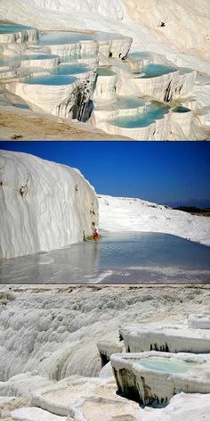 I'd like to introduce you to the amazing terraced thermal pools of Pamukkale, Turkey. One of the country's most popular tourist attractions, Pamukkale, which means Cotton Castle in Turkish, is unique in the world, the hot turquoise waters bathing the pearl white calcium pools can't be found anywhere else. The water from the hot springs runs off the plateau and the calcium that it contains deposits in the pool, giving the whole landscape that cotton look.