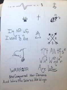 A page I drew of random tattoo ideas I want