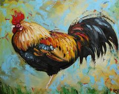 Rooster 553 16x20inch Print of oil painting by Roz by RozArt, $45.00