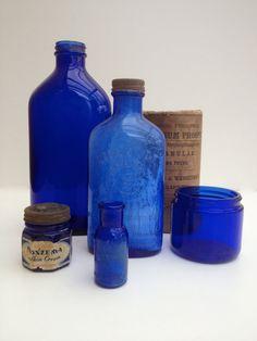 Set of 5 vintage deep cobalt blue medical bottles by vintagewall, $32.00