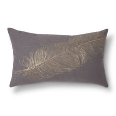 Modern and elegant, this Decorative Pillow from Threshold will look great with any home décor. This simply stylish pillow comes in sleek gray with a subtle gold feather print. These throw pillows work equally well on a couch, armchair or bed.