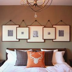 Creative ideas to hang pictures with ribbon Bedroom Wall Decor Above Bed, Bed Wall, Bedroom Ideas, Bedroom Shelves, Rustic Master Bedroom, Modern Master Bedroom, Bedroom Classic, Master Bathroom, Creative Wall Decor