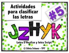 Actividades para clasificar las letras j, z, h, y, k en español, incluyendo identificacin de letras, sonidos iniciales y dibujos.