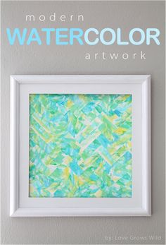 Cut strips of your kid's paintings to create this modern herringbone artwork! www.lovegrowswild.com #diy #art #kid
