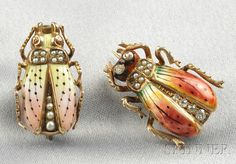 FINE JEWELRY - SALE 2586B - LOT 411 - TWO ART NOUVEAU 14KT GOLD, ENAMEL, SEED PEARL, AND DIAMOND INSECT BROOCHES, ONE WITH POLYCHROME ENAMEL HEAD AND WINGS, OLD EUROPEAN- AN - Skinner Inc