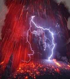 Photographer Martin Rietze, captures the intensity of a wonderful volcanic storm. When the volcano Sakurajima reached its full eruption, lightning descended on its boiling crater.