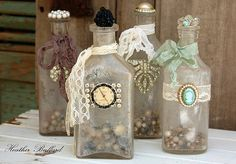 bottle decor- love the clock