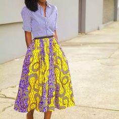 #Striped #Shirt + #African #Print #Midi #Skirt