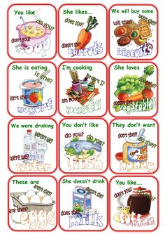 Go Fish question tags and food