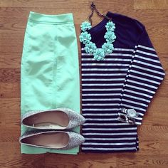 Minty fresh styling with @whitecoatwardrobe Straight Ahead Skirt, $36.99
