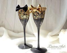 Wedding Glasses Peacock Glasses Champagne Flutes by NevenaArtGlass