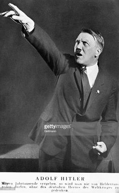 Adolf Hitler Pointing Text says: May thousands of years pass and one will never speak of heroism without remembering the German forces of the World War.