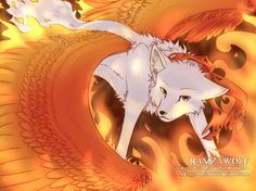 Anime wolf with fire wings!