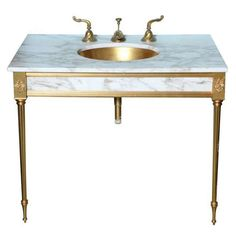 Sherle Wagner-5 Pc. Set  22k Gold & Marble Vanity With Mirror Cabinet & Light   From a unique collection of antique and modern stone sinks at http://www.1stdibs.com/furniture/building-garden/stone-sinks/